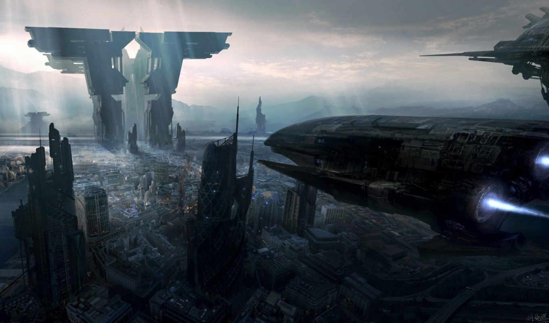 корабли, арт, будущее, город, код, картинка, фантастика,