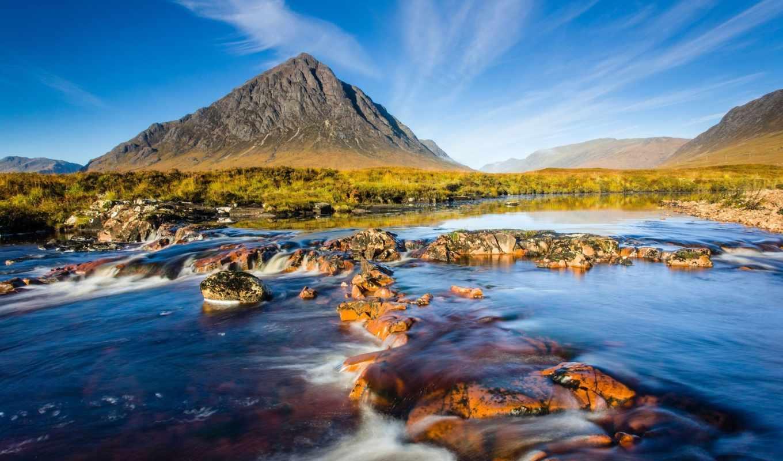 природа, шотландия, река, небо, гора, скалы,