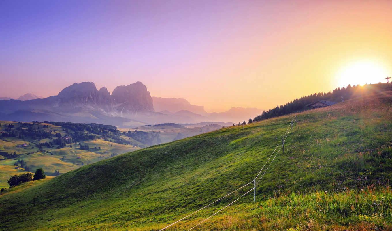 природа, солнечный, свет, горы, landscape, красивый, холмы, высокое, trees, фона,