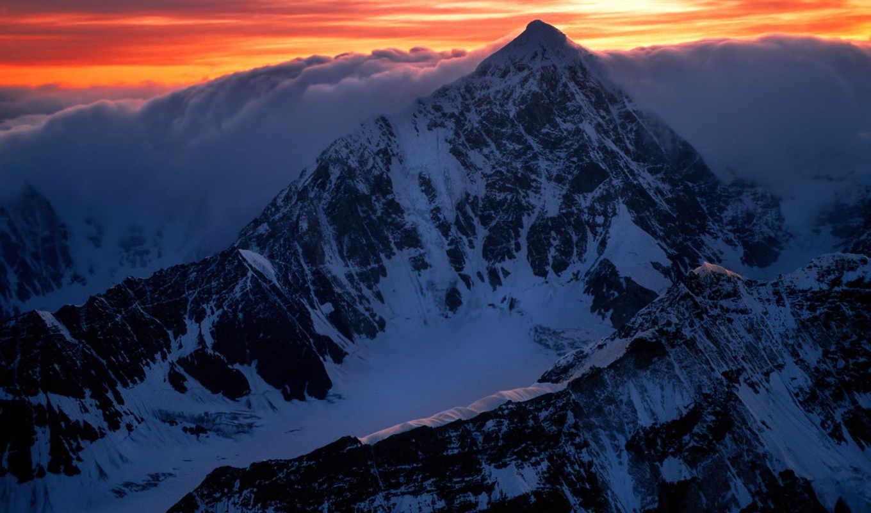 снег, горы, freezing, oblaka, рассвет, top, clouds, wallpapper, тегу, mountains,
