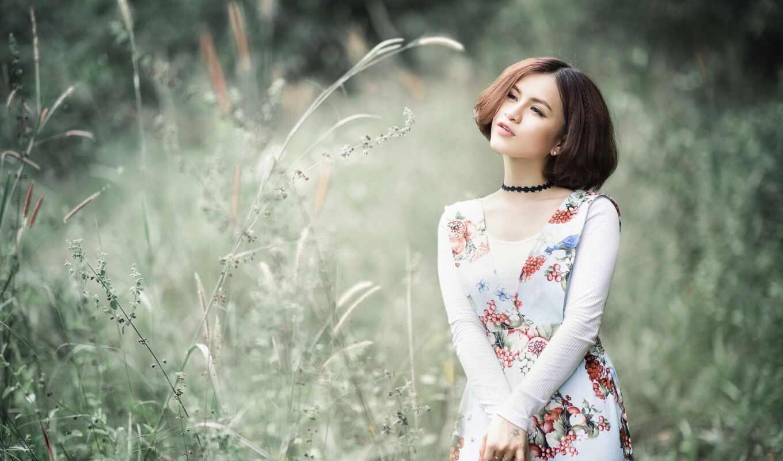 девушка, женщина, браун, природа, цветы, красавица, season, шея, choker, шляпа, платье