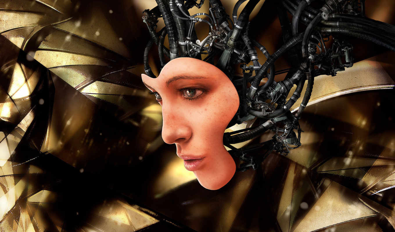 андроид, обои, провода, робот, арт, лицо, девушка,