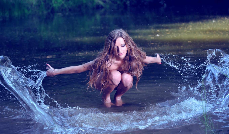 брызги, девушка, water, волосы, река,