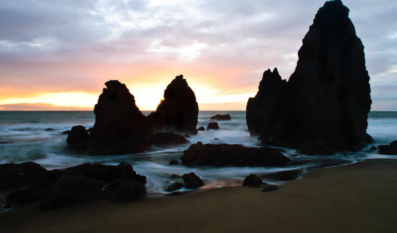 rocks, ago, пляж, лет, со, purple, свет,