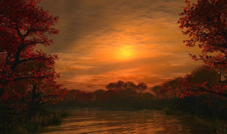 закат, со, озеро, осень, море,