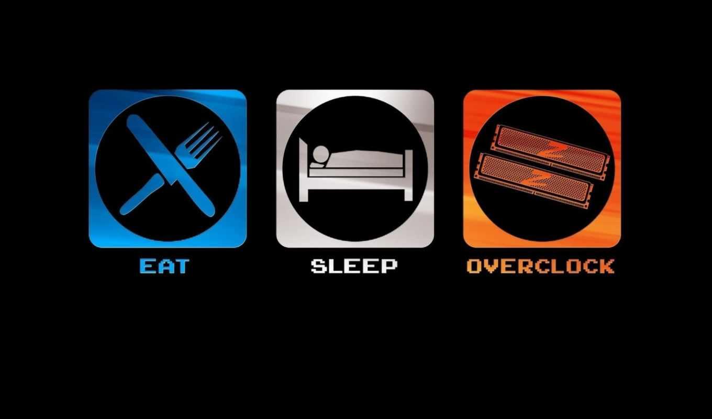 overclock, eat, sleep, funny
