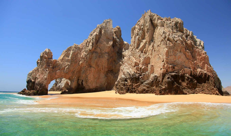 море, скалы, арка, landscape,