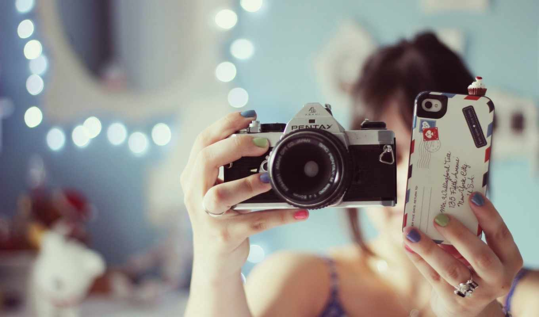 фотоаппарат, девушка, настроения, brunette, телефон,