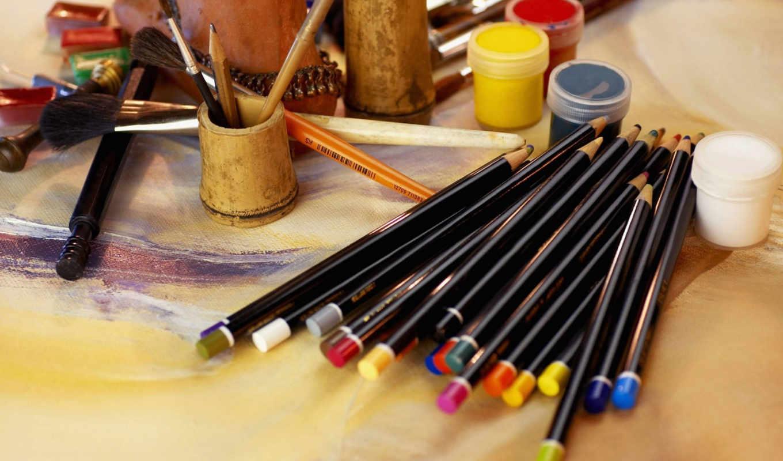 художника, множество, краски, карандаши,