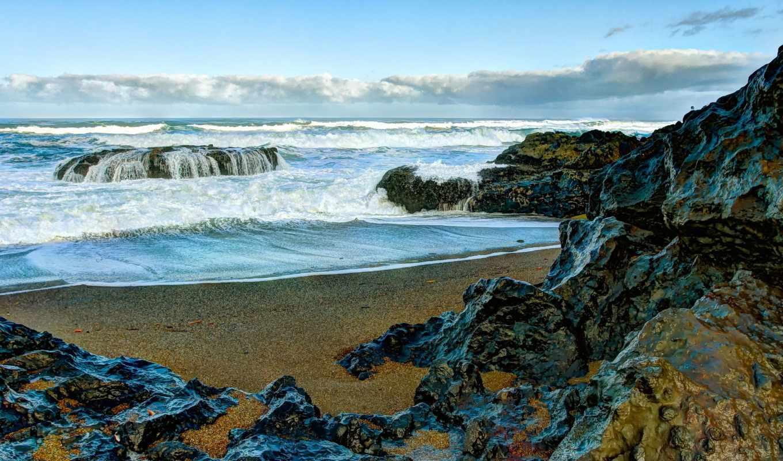море, берег, rocks, landscape, waves, скалистый, ocean, природа,