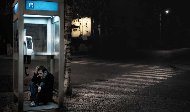 город, беда, обои, телефонная, ночь, будка, то, ко
