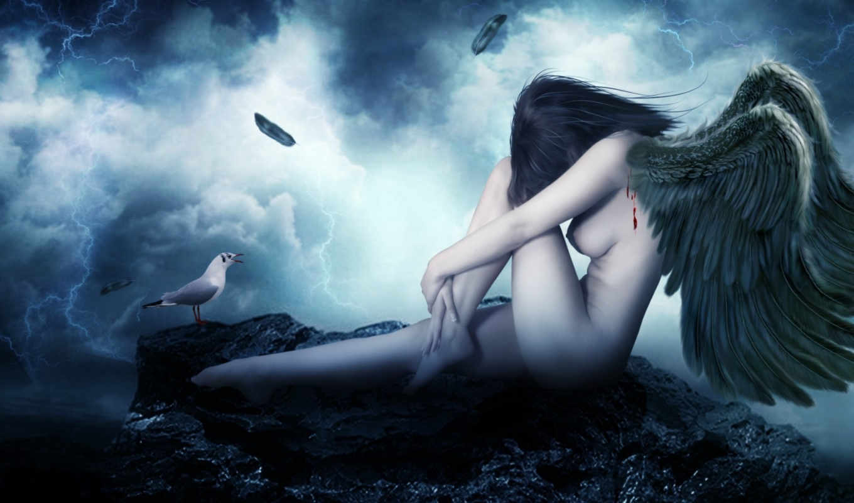 ангел, девушка, падший, oboi, kartinki, wrath, virus, крылья, ангелы, фэнтези, скачиваний,