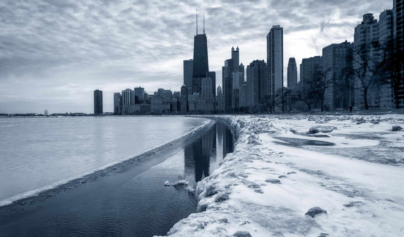 pictures, photos, chicago, city, skyscrapers, illinois, every, only, winter, screensavers, new, day,