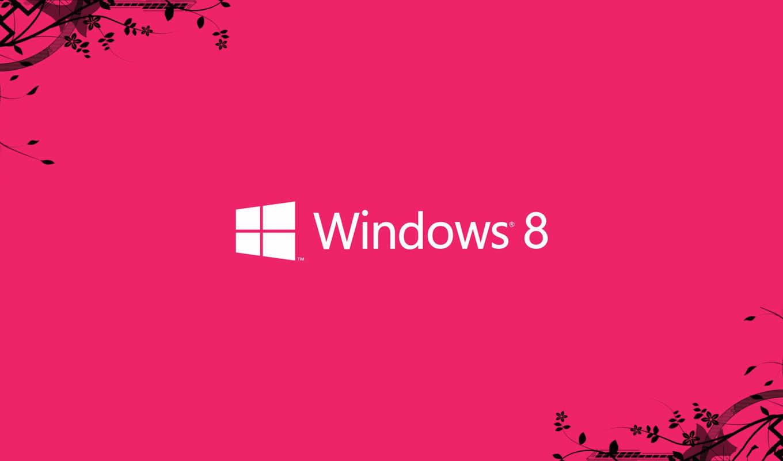 windows, eight, лого, розовый, цветы, ветки