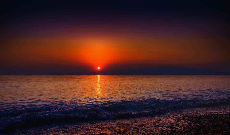 море, берег, волны, закат, natural, new, home,
