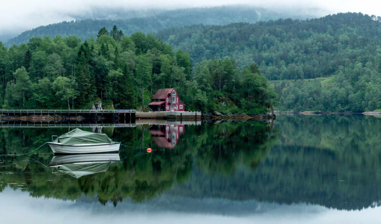 озеро, лес, деревя, house,