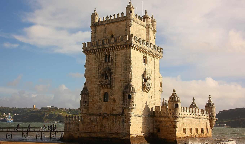 башня, lisbon, португалия, belém, река, города, turret,