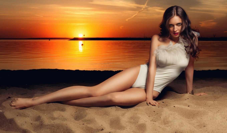 , девушка, песок, закат,