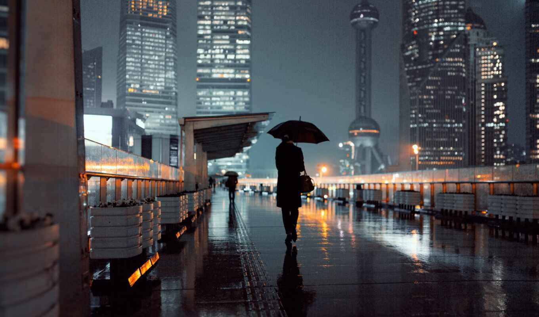 shanghai, город, дождь, summer, башня, зонтик, eastern, огонь, улица, urban
