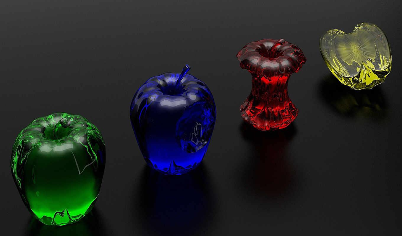 синий, яблоко, желтый, красный, зелёный, яблоки, картинка, стекло, минимал, iphone,
