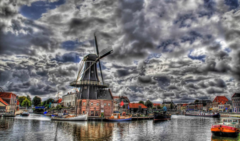 hdr, amsterdam, scenery, облака, небо, landscape, desktop, download, нидерланды, города, free,