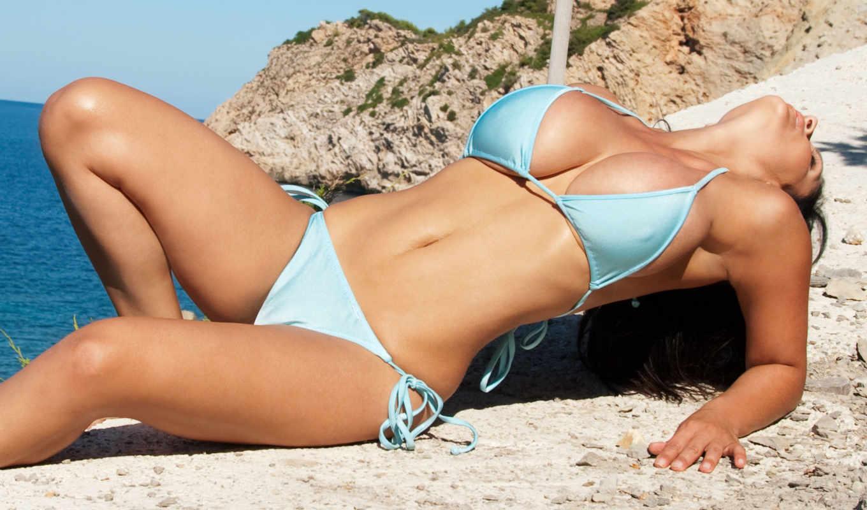 девушка, пляж, море, milani, купальник, бикини, denise, грудь, девушки, купальнике,