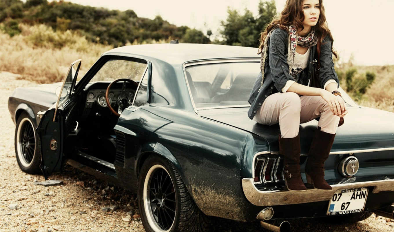 devushka, mustang, ford, avto, машина, модель,