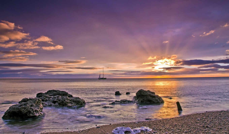 закат, landscape, море, небо, природа, корабль,