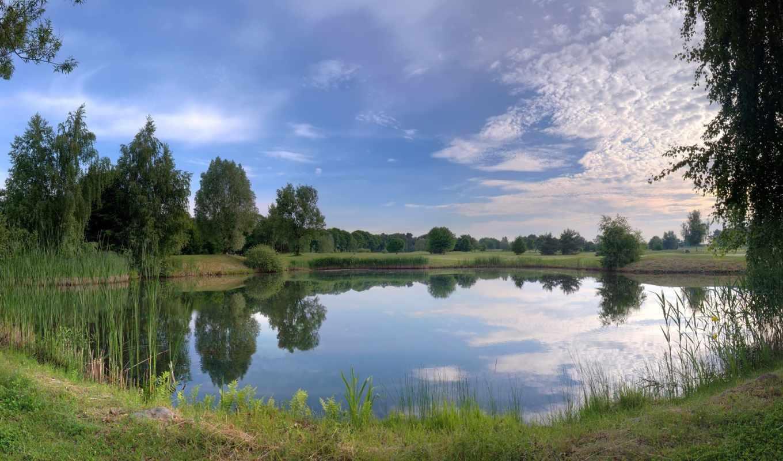 природа, озеро, небо, лес, заставки,