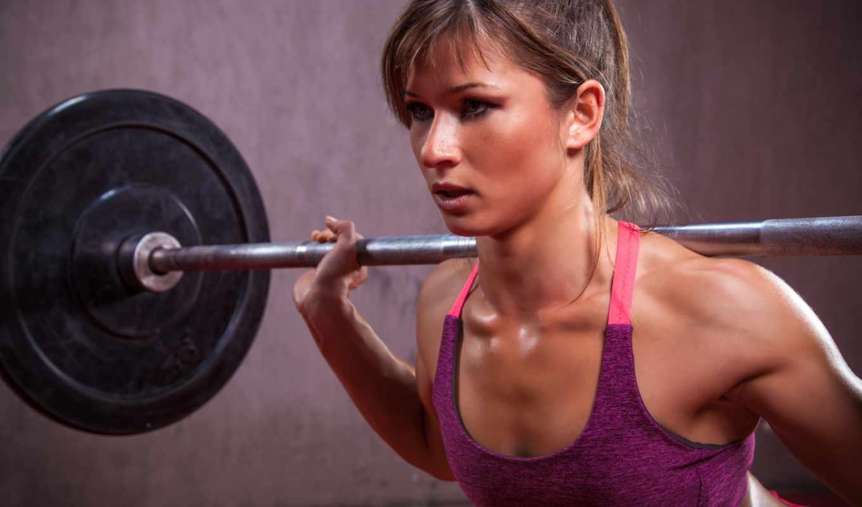 спорт, perspiration, красивые, фитнес, rod, workout, штанга, высокого, девушка,