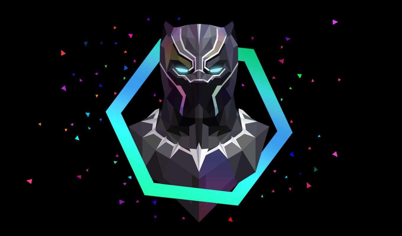black, panther, poly, low