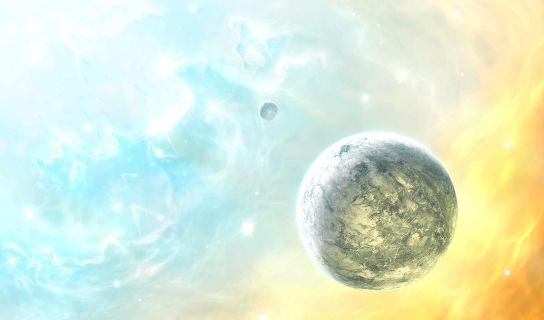 планета, звезды, цвет, space, planets, digital, art,