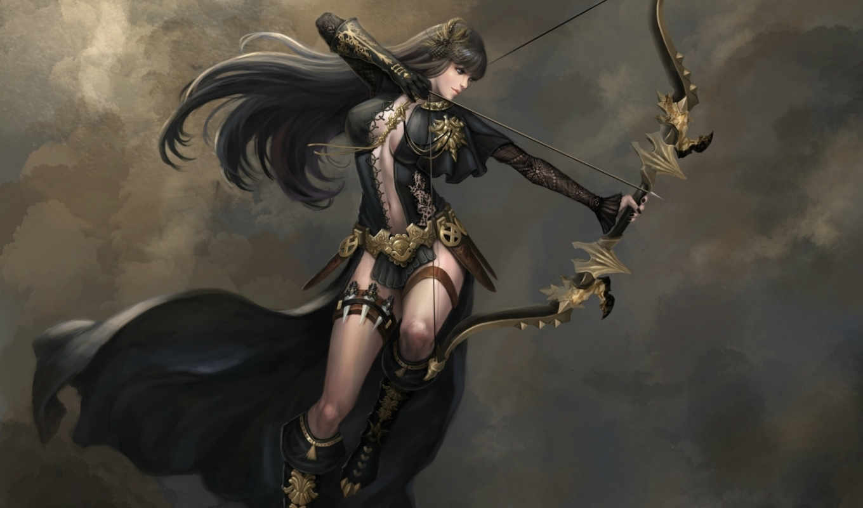 art, fantasy, archer, arrow, girl, kagaya,