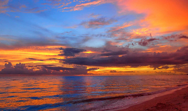 desktop, природа, закат, пляж, hawaiian, небо,