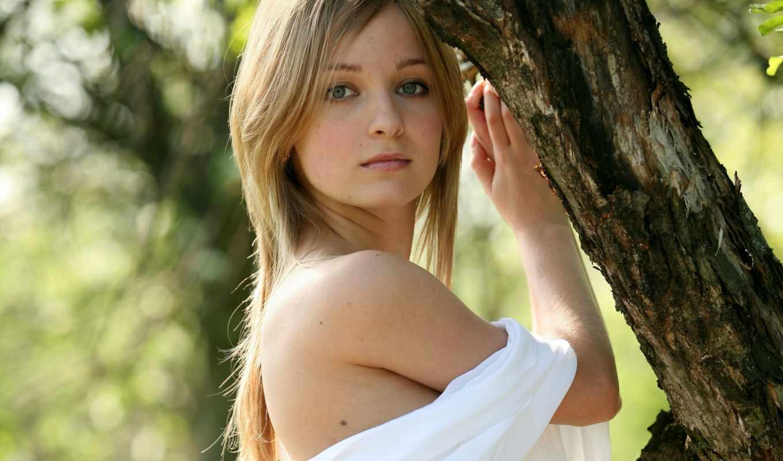 дерево, девушка, волосы,