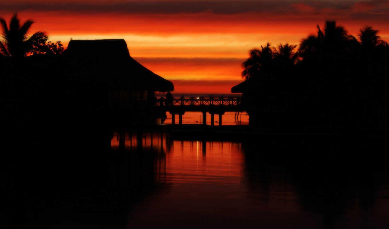 картинка, тропики, fullhdoboi, телефон, full, заставка, закат, море, tahiti,