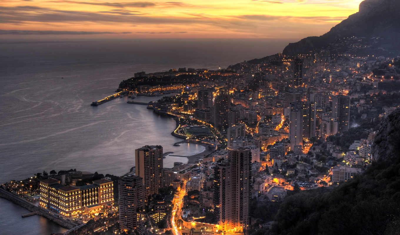 ночь, monaco, монте, carlo, города,