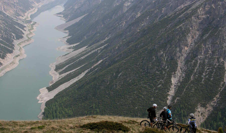 велосипед, горы, красиво, мило, озеро, спорт,