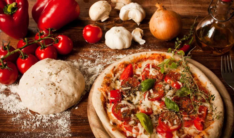 пицца, блюдо, помидоры, еда, грибы,