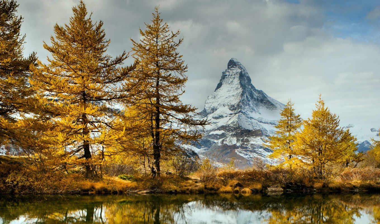 осень, озеро, landscape, горы, time, главная, природы,