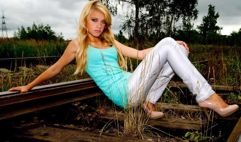молодой, девушка, blonde, railroad, трава, юная, караоке, girls,