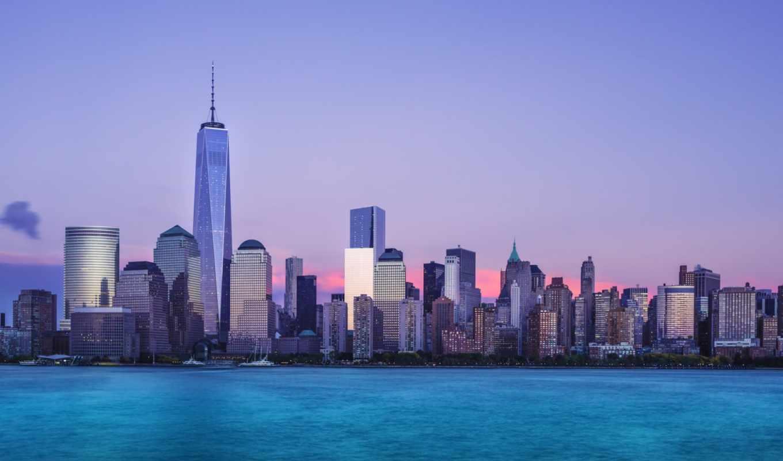 , new, york, one, world, manhattan, горизонт, вечер,