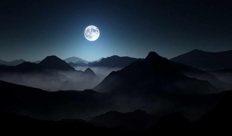 гора, луна, landscape, туман