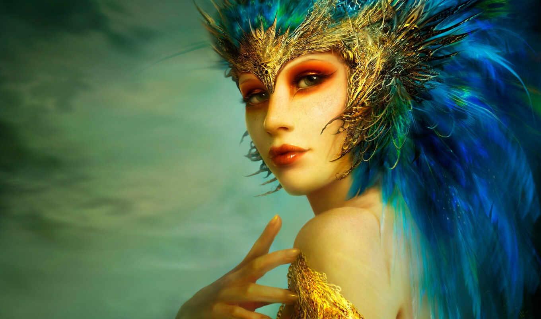 птица, жар, девушка, перья,