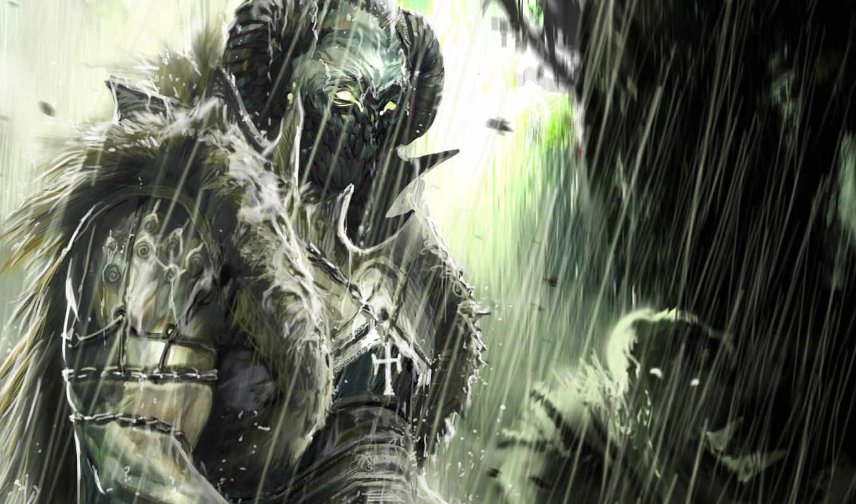 арт, доспехи, орки, уроды, дождь, картинка, robert, фэнтези, simon, фантастика, чудовище, сюжет,