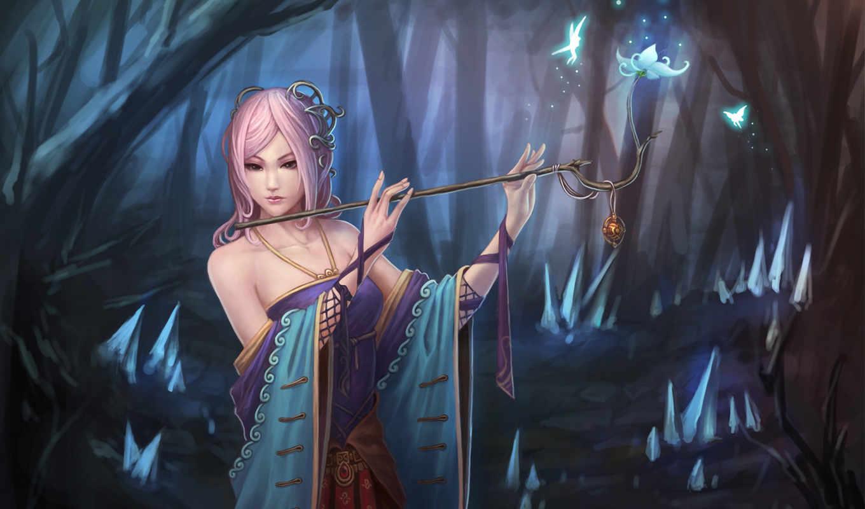 девушка, флейта, цветок, феи, кулон, ветка, картинка, картинку, кнопкой, мыши, магия, кликните, фэнтези, левой, fantasy,