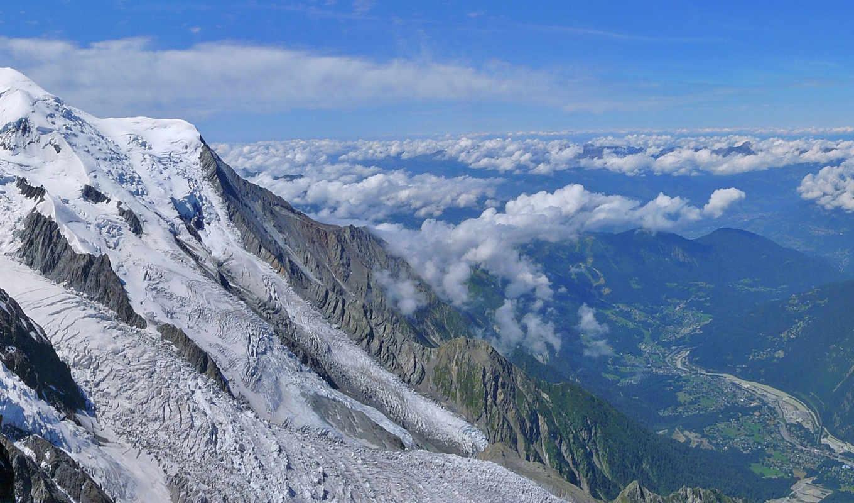 горы, снег, зима, высота, пейзаж, небо, скалы, пейзажи, bossons, природа, категории, облака, от, glacier, des,