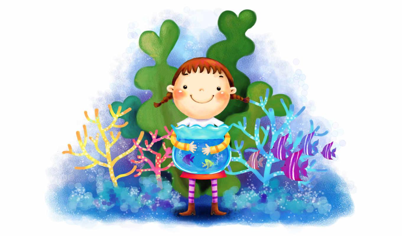 нарисованные, девочка, радость, аквариум, рыбки, вода, водросли, кораллы