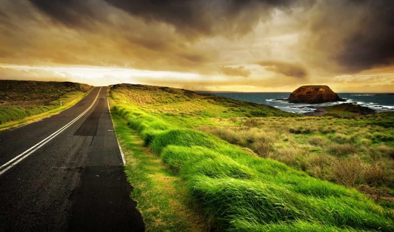 дорога, highway, зелёный, free, фон,