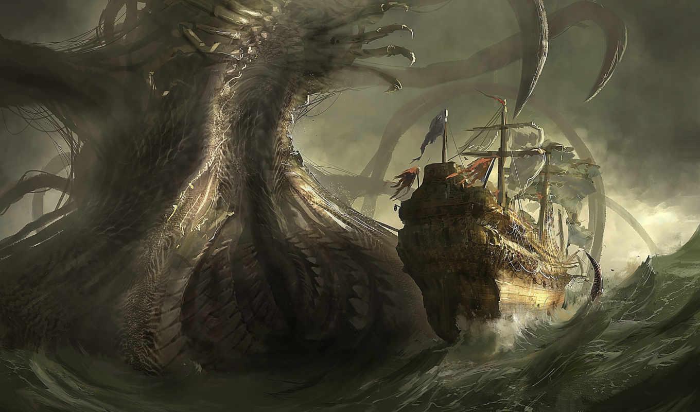 корабли, парусные, фэнтези, grafika, монстры, игры, korabl,